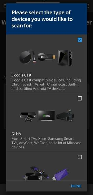 select the Roku or Chromecast from the list on Pluto TV