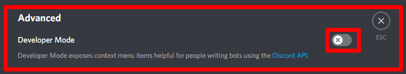 Developer Mode in Discord.