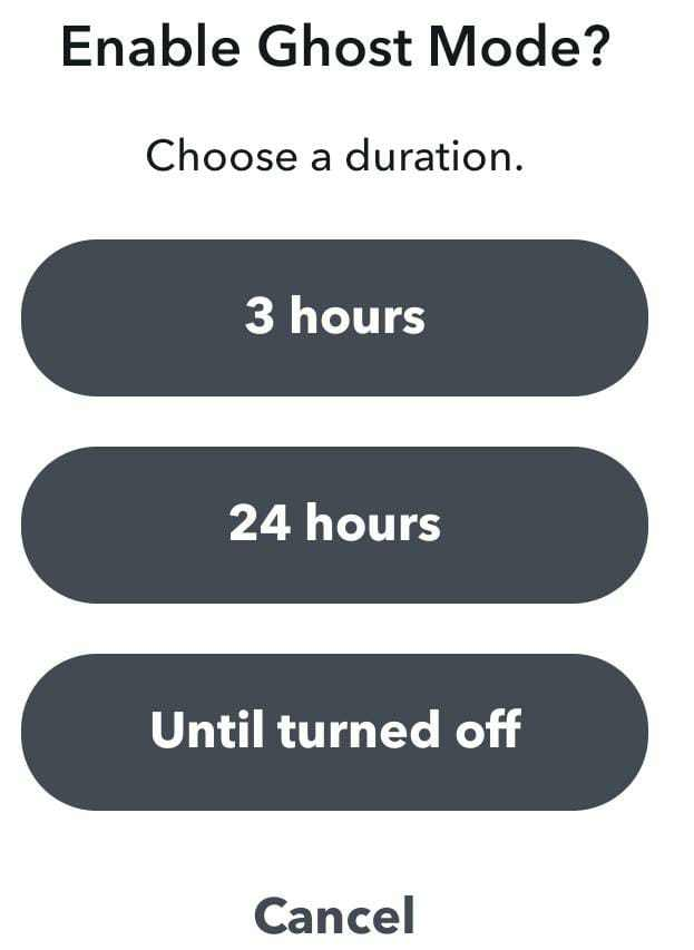 Ghost mode duration Snapchat
