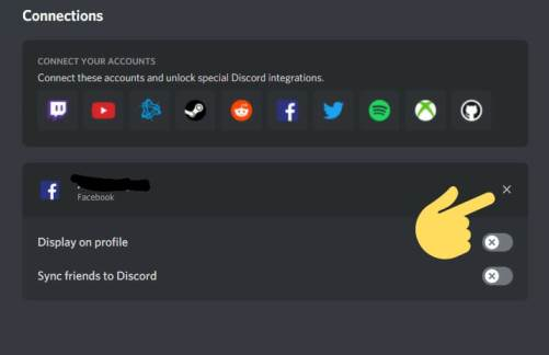 How to disconnect Facebook on Discord