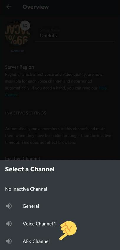 create AFK Channel in Discord Mobile
