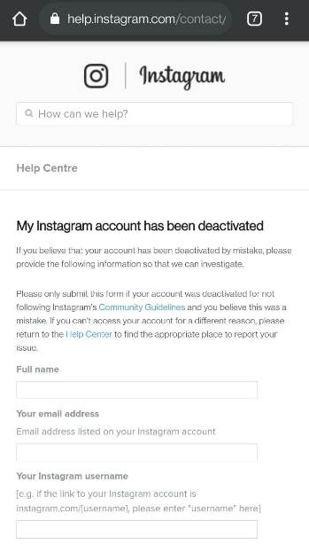 Fix Your account has been disabled for violating our terms on Instagram