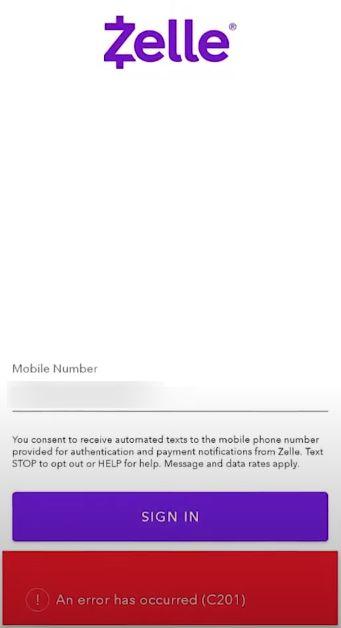 Zelle Error code C201